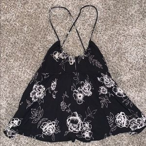 UO - Black And White Floral Tank Top